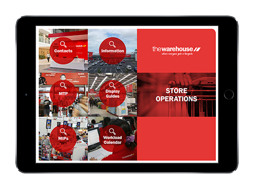 The Warehouse's branded retail presentation on iPad