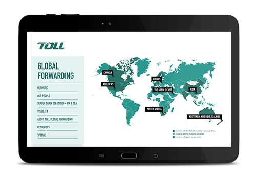 Toll's branded sales presentation on iPad